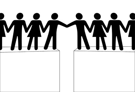 outreach: Two groups of people reach out to join in a connection and help.  Illustration