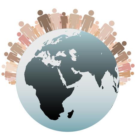 Vele diverse mensen staan op het westelijk halfrond als symbolen van de bevolking van de aarde.