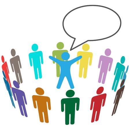 oir: Grupo de audiencia popular escucha al orador anunciar en globo de discurso.  Vectores