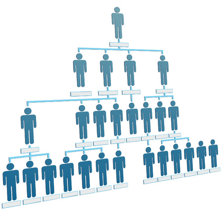 Organizational corporate hierarchy chart of a company of symbol people.