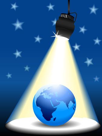 Planet Earth Eastern Hemisphere on a star sky stage in spotlight. Banco de Imagens - 7616478
