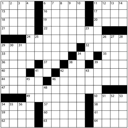Een lege krant stijl kruiswoord puzzel met nummers in het raster van word. Stockfoto