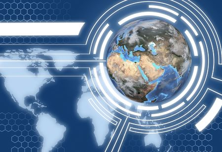 communication concept: A Technology Communications System Design with map of Western Hemisphere and Eastern Hemisphere globe.