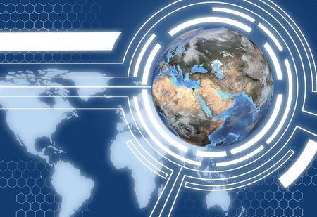 hemisphere: A Technology Communications System Design with map of Western Hemisphere and Eastern Hemisphere globe.