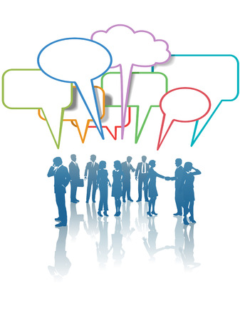 A group of Communication Network Social Media Business People talk in colorful speech bubbles.
