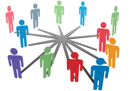 corporations: People connect in a social media network or business company. Illustration