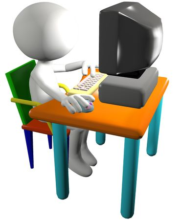 use computer: Cartoon 3D man PC user presses a key and clicks a mouse on a computer desk.