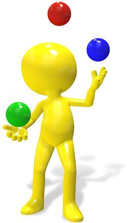 throwing ball: A 3d cartoon character juggles red, green, and blue balls.