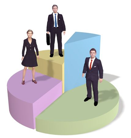 market share: A team of three business people silhouettes stand on top of success pie chart pieces.