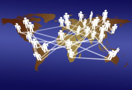 commerce communication: Across the World business people connect in network media communication.