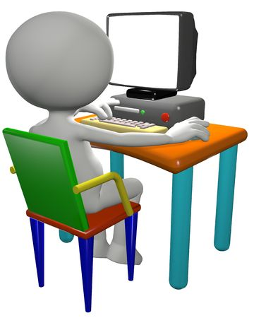 use computer: Cartoon 3D PC user works on a computer desk, useful background copy space on the blank monitor.