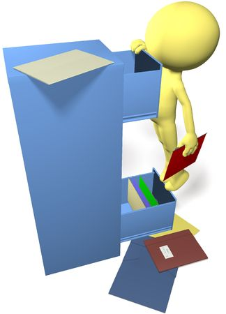 3D office worker character searches for a data file in an office filing cabinet. Archivio Fotografico