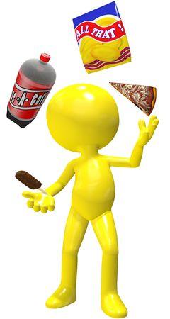 Junk food junkie juggler juggles cola pizza potato chips ice cream snacks. Stock Photo - 7689288