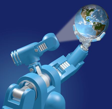 searches: Alien science camera eye robot lights and searches Earth in its hand.