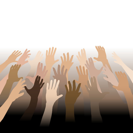Diverse People Hands Reach Up Out to Copy Space bleed to white and black. Vector