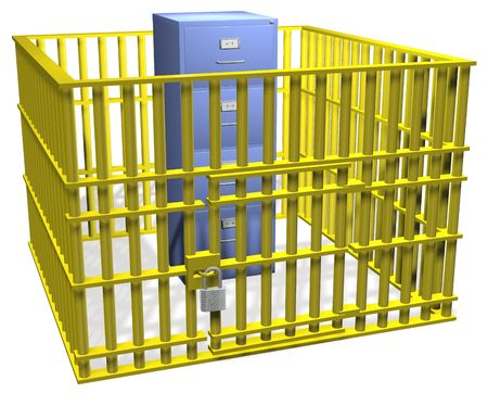 storage: Filing cabinet data storage safe in security cage bars with lock. Stock Photo