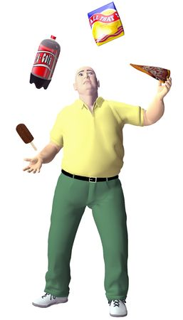 An obese junk food junkie man juggles high fat cola pizza potato chips ice cream snack food. photo