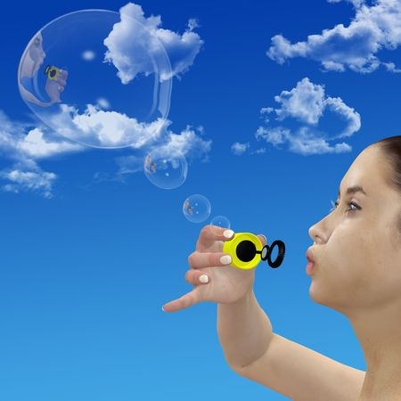 reflection: A 3D girl blows thought bubble bubbles into a blue sky.