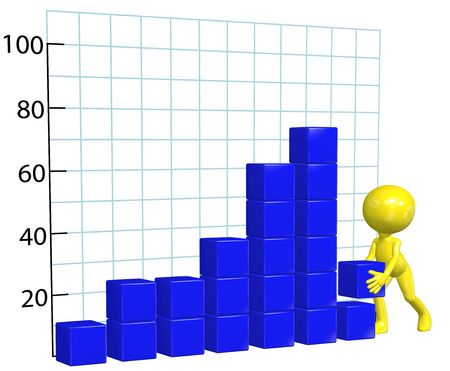 A business man character builds profit growth chart bar graph 写真素材