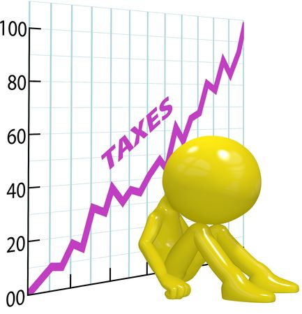 burden: A chart shows high income tax burden increases ruin a 3D taxpayer. Stock Photo