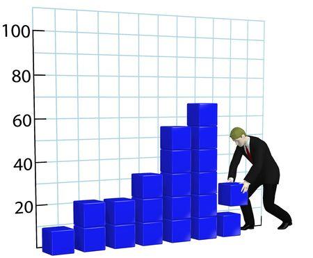 A business man builds a blue profit growth chart bar graph