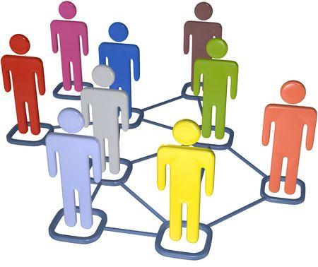 conexiones: S�mbolo personas conectan en los nodos de la red de medios de comunicaci�n social 3D.
