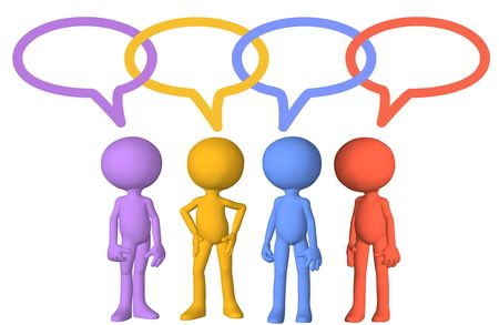 Social media 3d characters talk in speech bubbles joined in chain links Stock Photo - 7794513