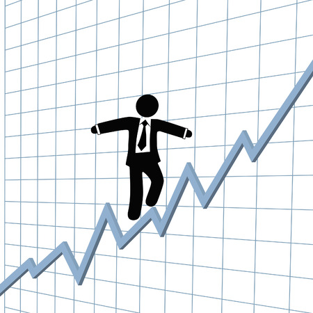 A business man climbs up risk tightrope on growth chart. Vector