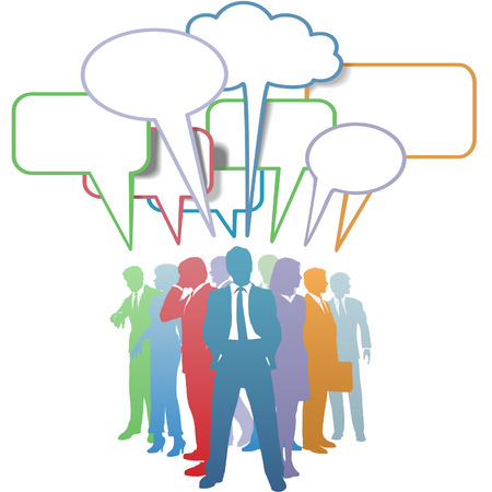 voices: Group of colorful business people network and communicate in speech bubbles. Illustration