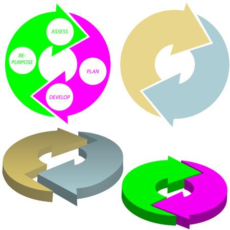 A set of cycle arrows process system concept. Illusztráció