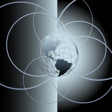 Globe Earth global circle orbits abstract background Banco de Imagens - 7794505