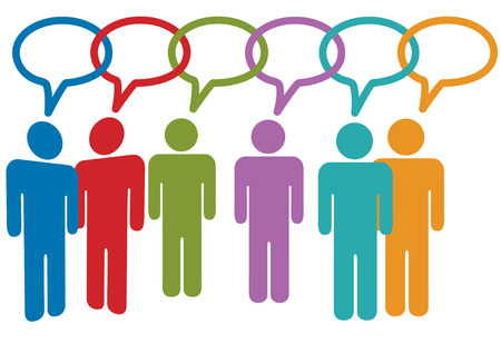 ソーシャル メディアの人々 は、音声バブル チェーン リンクの話します。