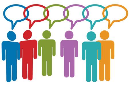 összekapcsol: Social media people talk in speech bubble chain of links. Illusztráció