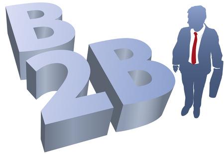 b2b: Hombre de negocios y s�mbolo de B2B para e-commerce y e-business para el negocio  Vectores