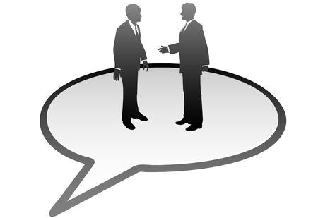 personas comunicandose: Hablar de personas de negocios de reuni�n dentro de una burbuja de discurso de comunicaci�n  Vectores