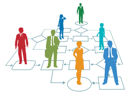 colors: People in a Business team process management flowchart Illustration