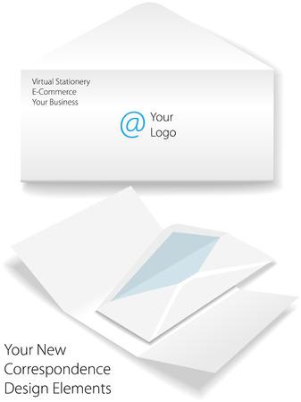 envelope with letter: Modello di business aziendale virtuale lettera busta