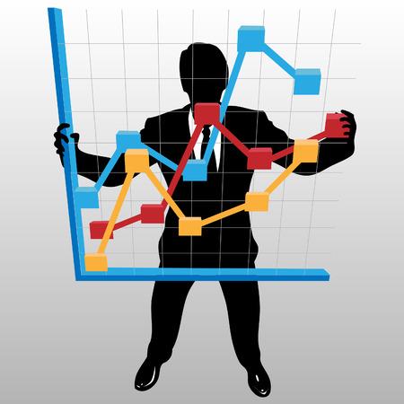 vista desde arriba: Una silueta de empresario sostiene una curva de crecimiento de beneficios financieros, en una vista desde arriba.