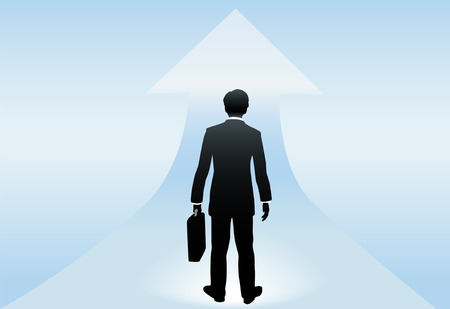 A business man seen from behind stands poised at an up arrow to a bright successful future ahead. Stock Vector - 7794500