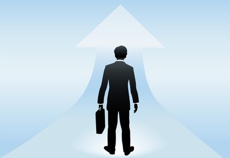 Un homme d'affaires vus de derrière se tient prête à une flèche vers le haut à un avenir brillant succès à venir. Banque d'images - 7794500
