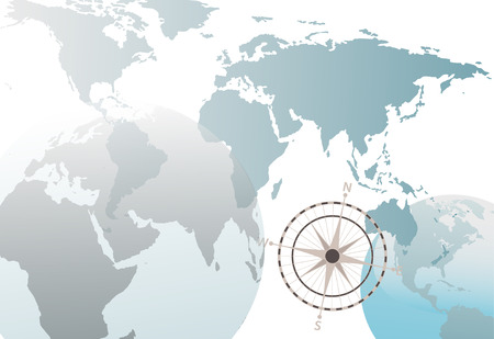 An Earth globe world map abstract background on white with compass. Vector