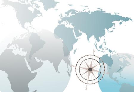 Een van de de wereldkaart van de Aardebol abstracte achtergrond op wit met kompas. Stock Illustratie