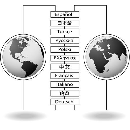 translate: Idioma del mundo conectar las traducciones de comunicaci�n de hemisferios de tierra.  Vectores