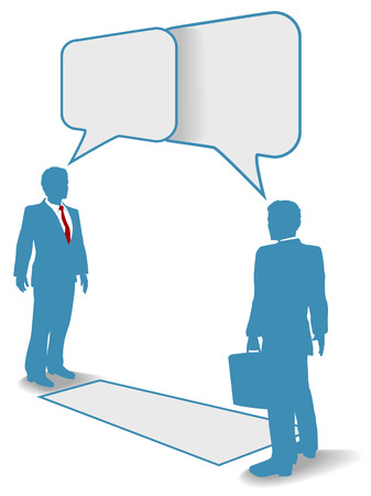 Two business people talk connect communicate in speech bubbles at a distance Vector