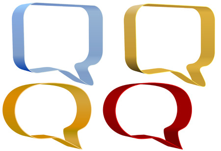 communication: A set of ribbon speech bubbles balloons communication icons as background copy space. Illustration