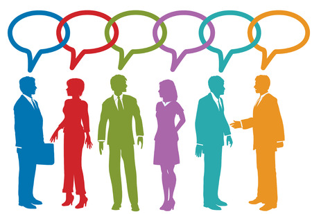 business team meeting: Group of social media or business people talk speech bubble link chain