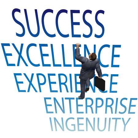 비즈니스 사람이 성공을 향해 단어를 등반하게됩니다.