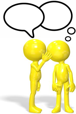 fofoca: A cartoon character whispers to confide secret gossip to another person.