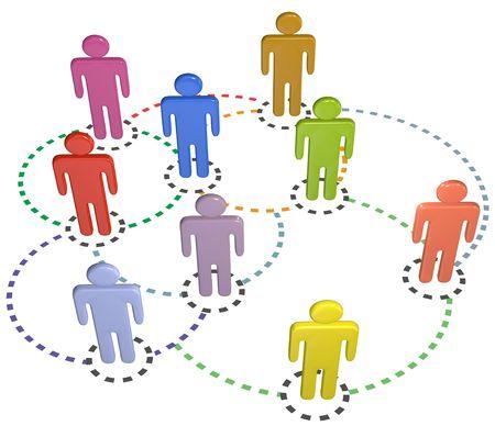 사람들은 서클 연결 소셜 비즈니스 네트워크에 연결합니다.