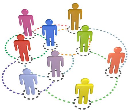complex system: People connect in a circle connections social business network Stock Photo